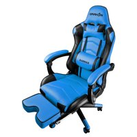 Drakon DK709 Gaming Chair Ergonomic Racing Style Pu Leather Seat, Headrest with Foldable Foot/Leg Rest BLUE