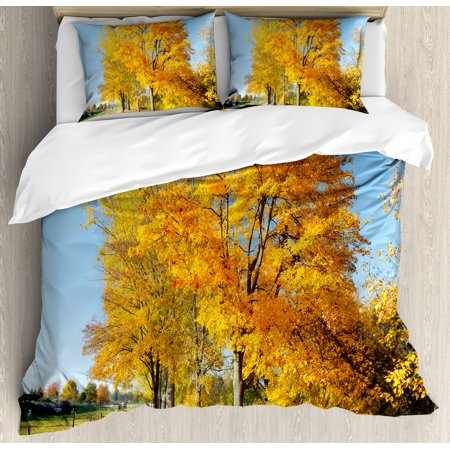 Fall Decor King Size Duvet Cover Set  Maple Trees In Rural Countryside Natural Landscape Tranquil View  Decorative 3 Piece Bedding Set With 2 Pillow Shams  Light Blue Yellow Green  By Ambesonne