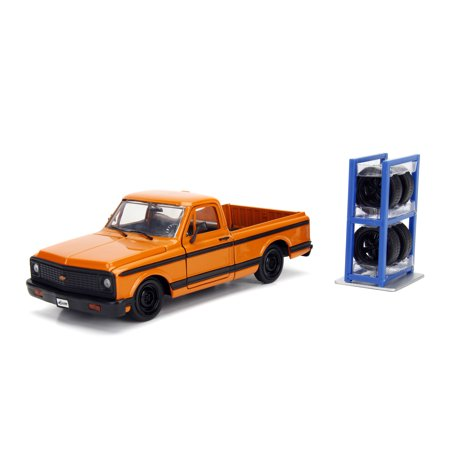 Jada Toys 1:24 Scale Just Trucks Diecast 1972 Chevrolet Cheyenne Pickup Truck Orange with Black Stripes and Extra (1972 72 Chevrolet Chevy Truck)