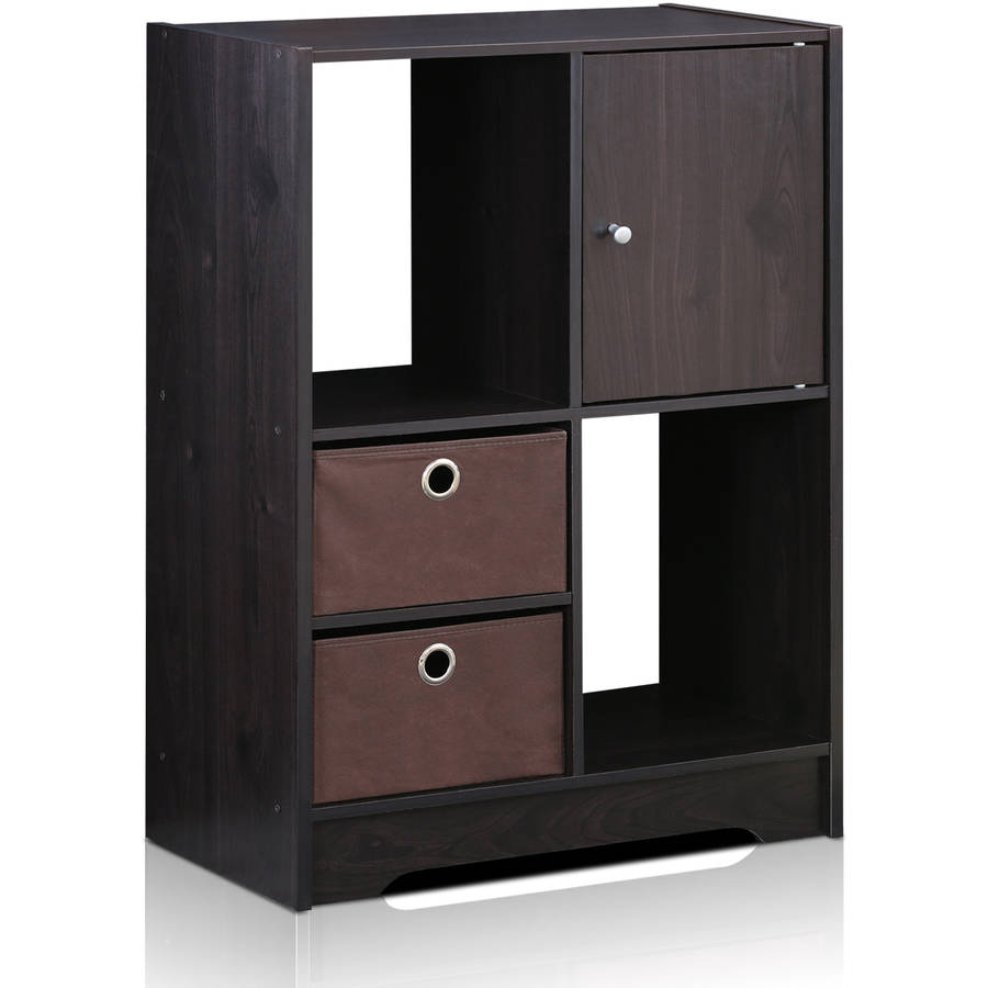 Furinno 11068EX/DBR Living Storage Cabinet with Bins and Door, Espresso