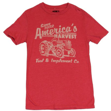 Americas Harvest Mens T-Shirt  - Tractor Image on Distressed Red Custom 77 Te