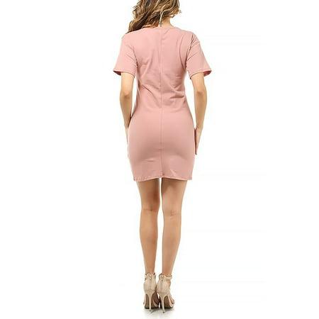 Women Lace up Self Corset Shirt Dress Short Sleeve Slim Fits KD8471