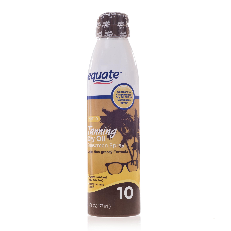 Equate Tanning Dry Oil Spray Sunscreen, SPF 10
