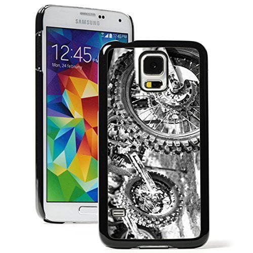 Samsung Galaxy (S5 Active) Hard Back Case Cover Motocross Bikes (Black)