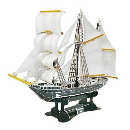 Top Race 3D Puzzle Sailboat, Sailboat Puzzle, No Glue, No Scissors, Easy to Assemble. Spirit of New Zeland (124 Pieces)