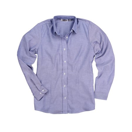Women's Long Sleeve Oxford Shirt (True Blue, (Pu Womens Oxfords)