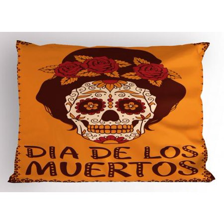 Sugar Skull Pillow Sham Mexican Skull Girl with Hair and Flower Wreath Print, Decorative Standard King Size Printed Pillowcase, 36 X 20 Inches, Chestnut Brown Orange and Ruby, by Ambesonne