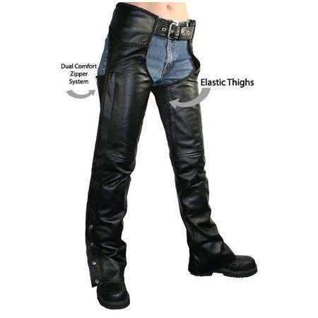 Xelement B7556 Women's Black Braided Zippered Leather Chaps Black Ladies Black Chaps