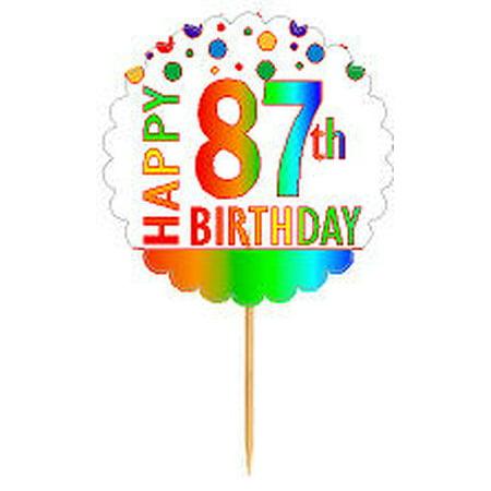 Birthday Decoration Items (CakeSupplyShop Item#RP-088 Happy 87th Birthday Rainbow Novelty Cupcake Decoration Topper Picks)