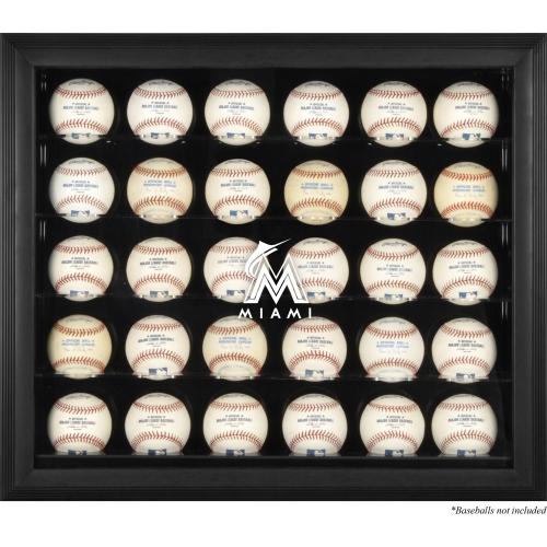Miami Marlins Fanatics Authentic Logo Black Framed 30-Ball Display Case - No Size