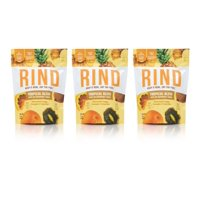 RIND Snacks Tropical Blend Sun-Dried Skin-On Superfruit Snack, Bittersweet Orange, Pineapple, and Tangy Kiwi, High Fiber, No Sulfites, Antioxidants from Vitamin C, Gluten-Free, 3oz Pouch, Pack of 3