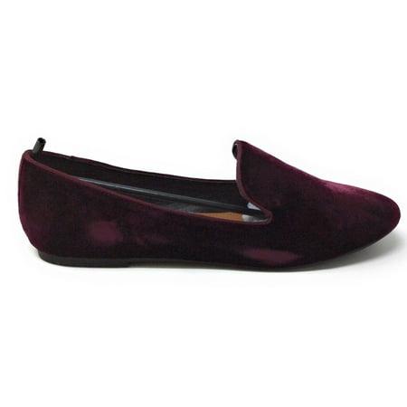 UNIONBAY Womens Bloom Slip On Loafer Flat Ruby Faux Velvet Round Toe 9 M - Bloom Flat