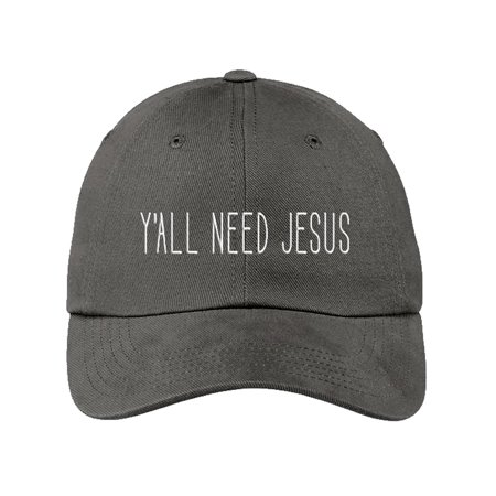 b75eb3397dcd8 Ya ll Need Jesus Funny Gray Baseball Cap Hat Adjustable Unisex Friend Mom  Gift -