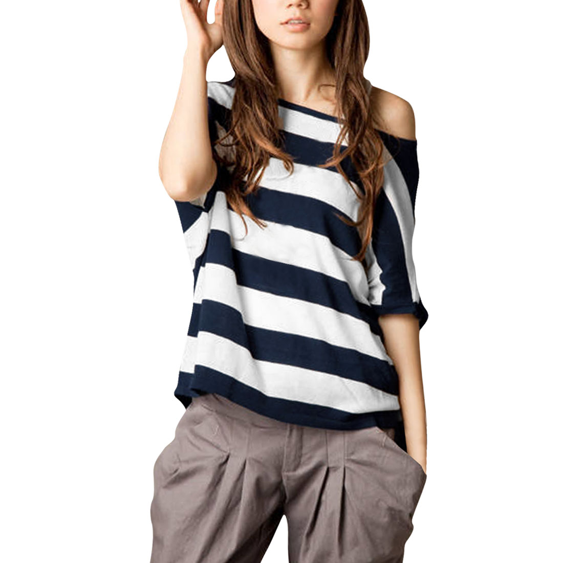 Allegra K Women's Blue Horizontal Stripes Stretchy Summer Loose Shirt (Size XL / 16)