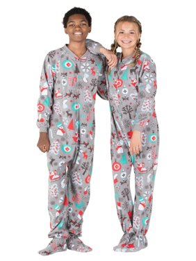 Footed Pajamas - Santa's Village Kids Fleece Onesie