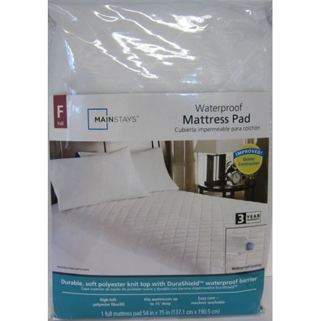 Mainstays Full Polyester Waterproof Fitted Mattress Pad, 1 Each