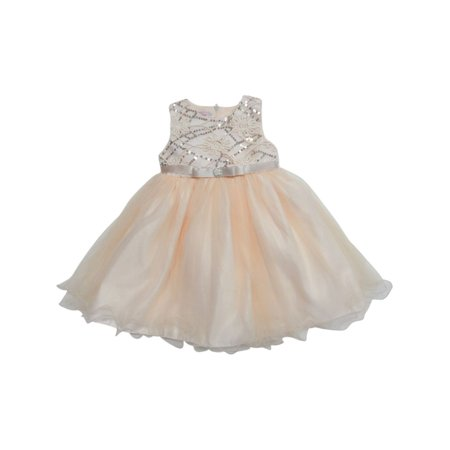 Little Girls Champagne Shimmery Sequin Ribbon Belt Flower Girl Dress