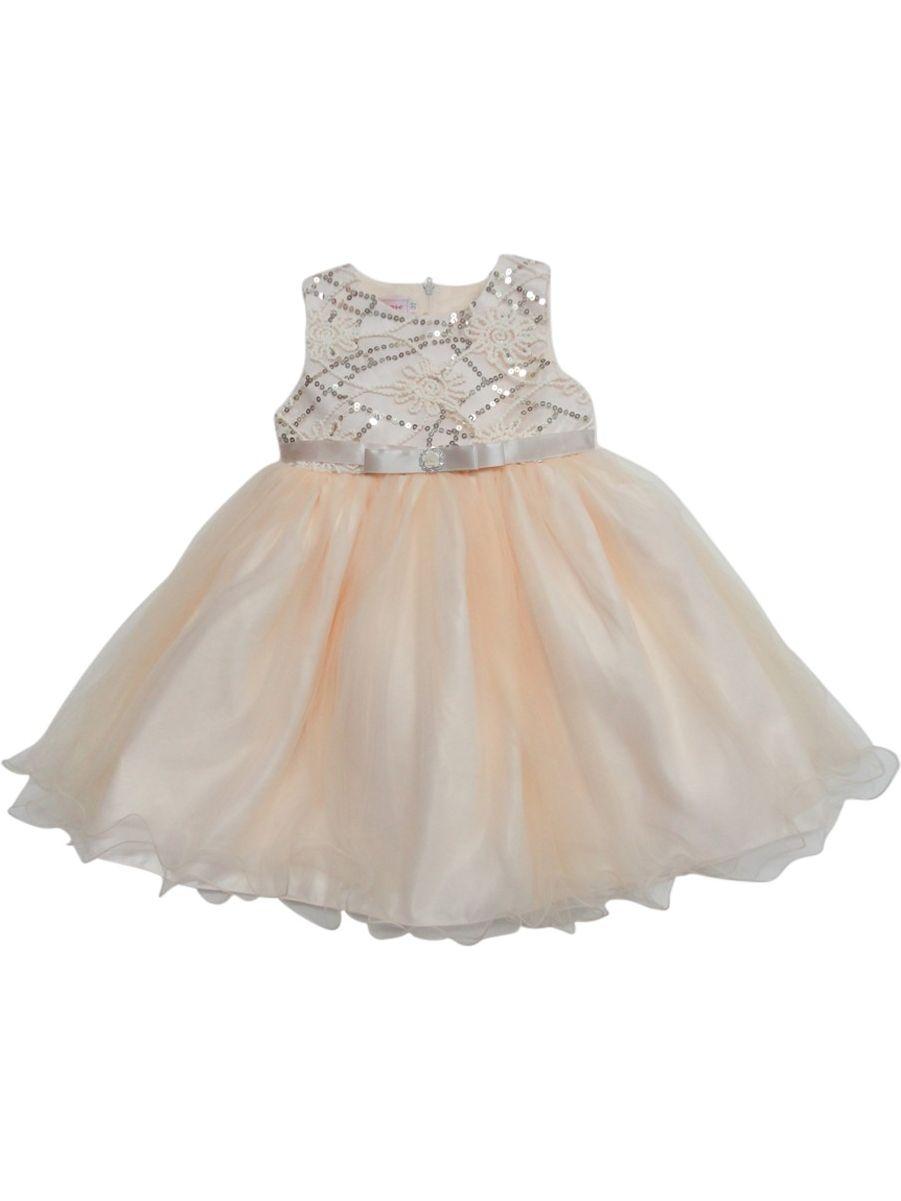 Little Girls Champagne Shimmery Sequin Ribbon Belt Flower Girl Dress