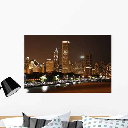 Chicago Skyline Wall Mural Decal By Wallmonkeys Vinyl L And Stick Graphic 36 In W X 24 H