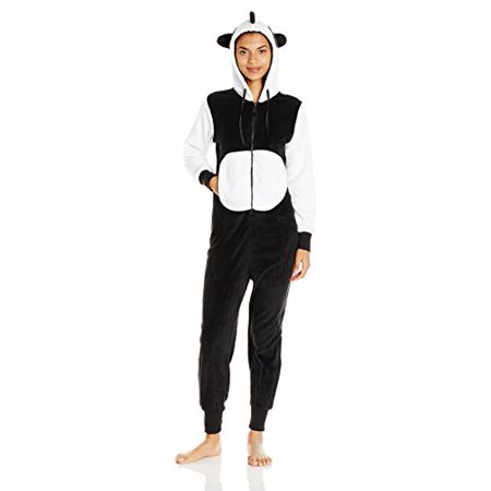 Totally Pink Women's Plush Specialty Panda Onesie, Black, Large