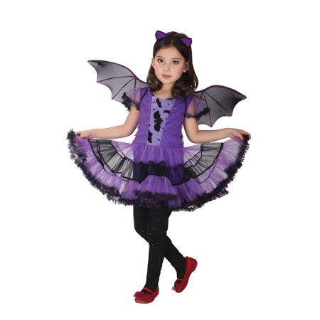 Spooktacular Girls' Purple Bat Costume Set with Dress and Wings, - Girl Bat Costume