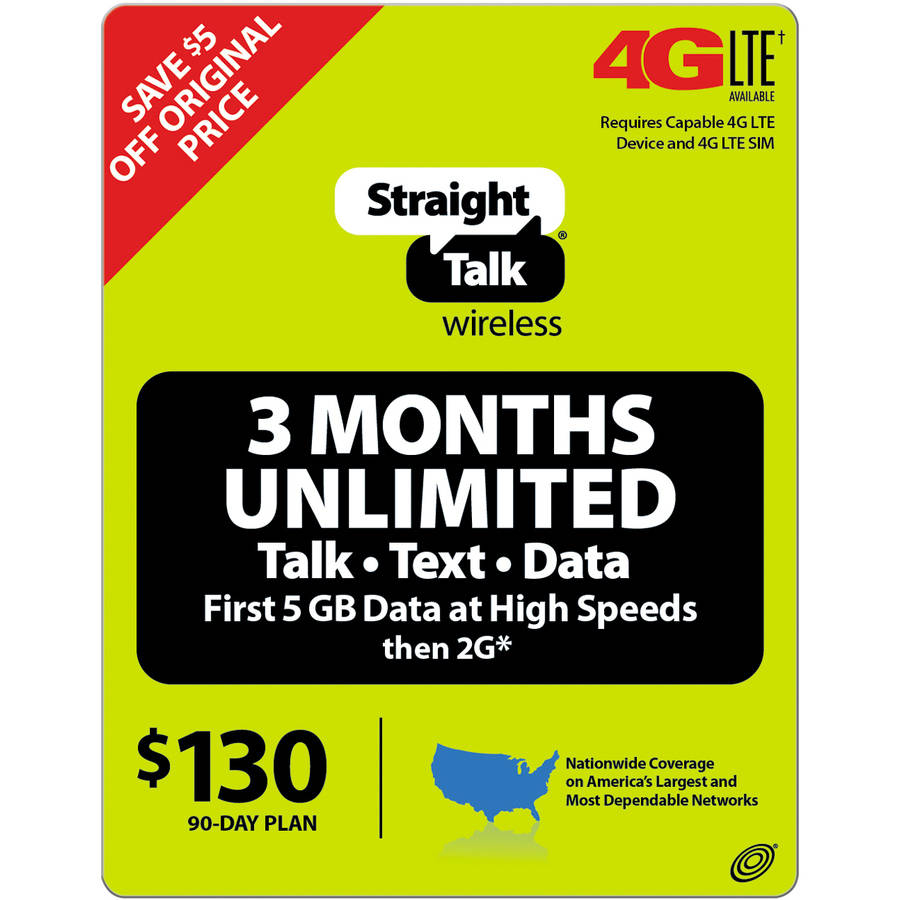 (Email Delivery) Straight Talk 3-Month Plan Unlimited 90 Access Days $130