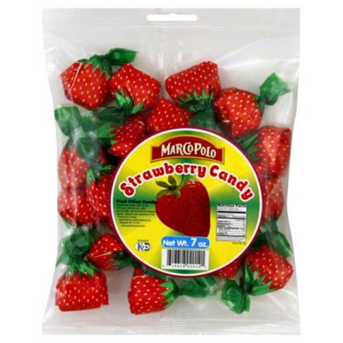 MARCO POLO CANDY HARD STRAWBERRY-7 OZ -Pack of 24