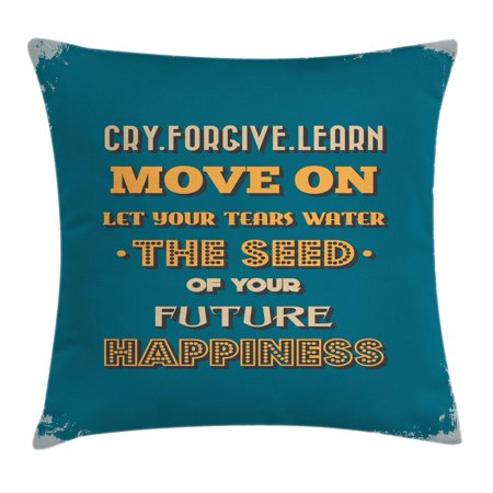Motivational Throw Pillow Cushion Cover, Retro Grunge Background with Happiness Themed Word Arrangement, Decorative Square Accent Pillow Case, 20 X 20 Inches, Petrol Blue Orange Beige, by Ambesonne (Pillows With Words)