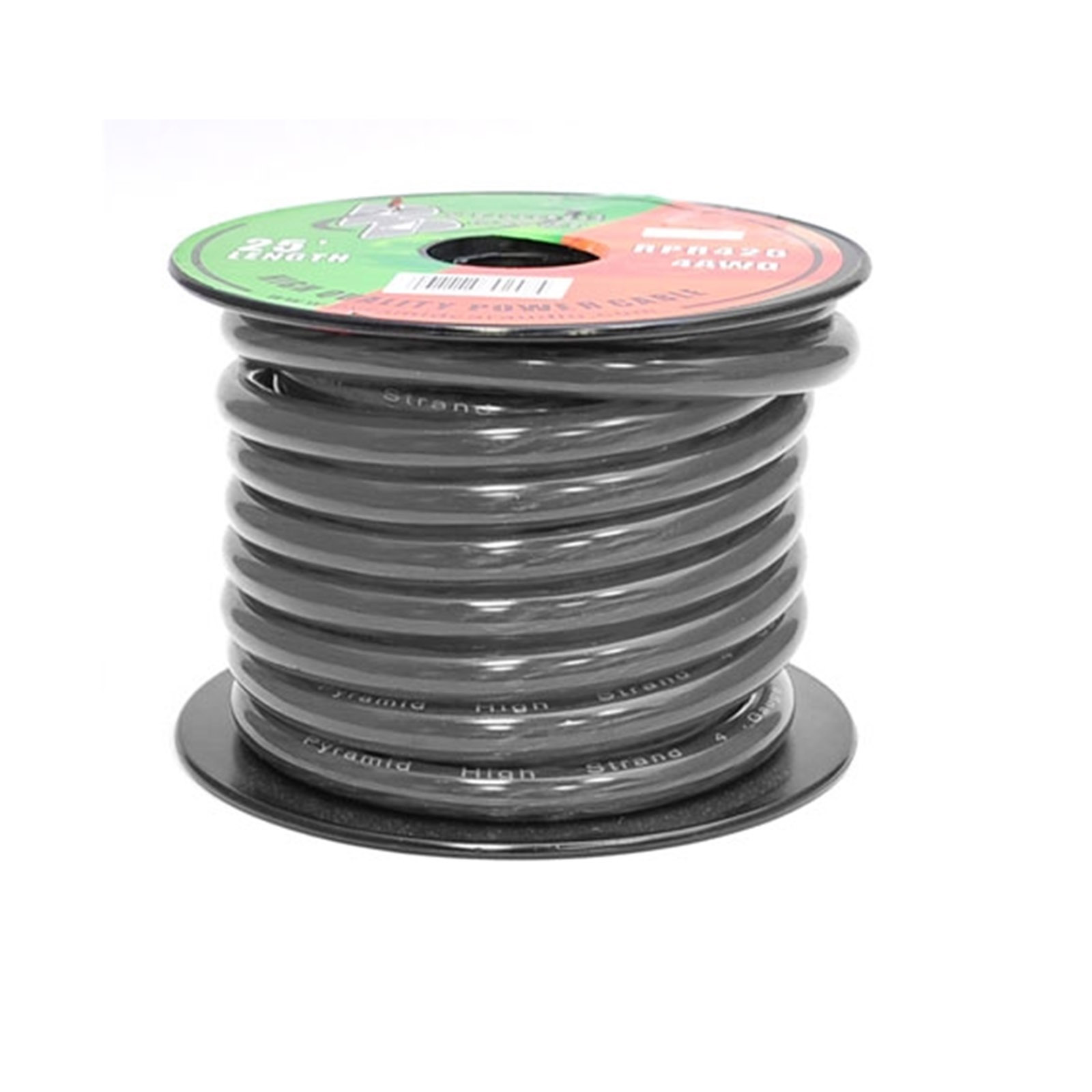 Pyramid 4 Gauge Black Ground Wire 25 ft. OFC
