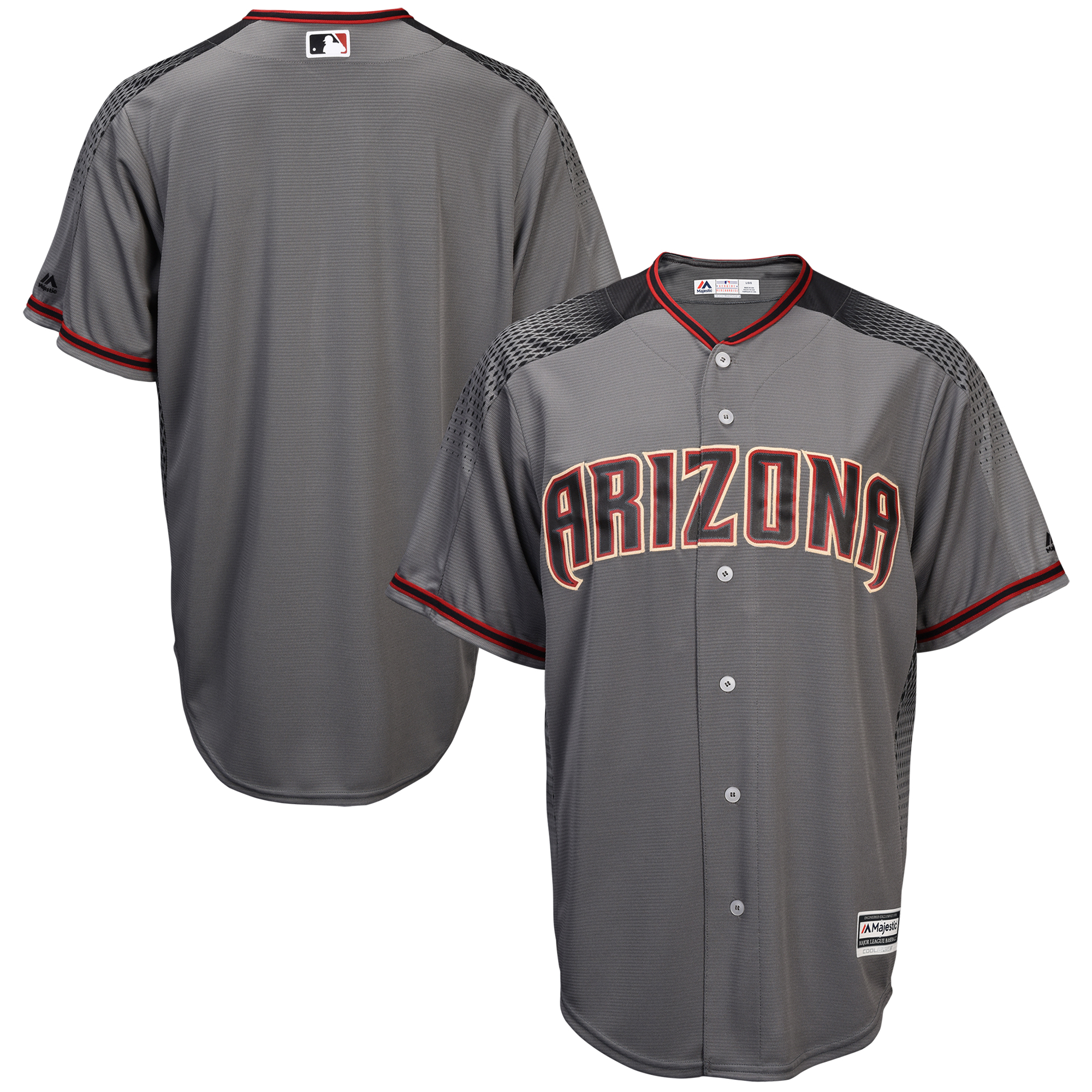 Arizona Diamondbacks Majestic Fashion Official Cool Base Replica Team Jersey - Gray/Black