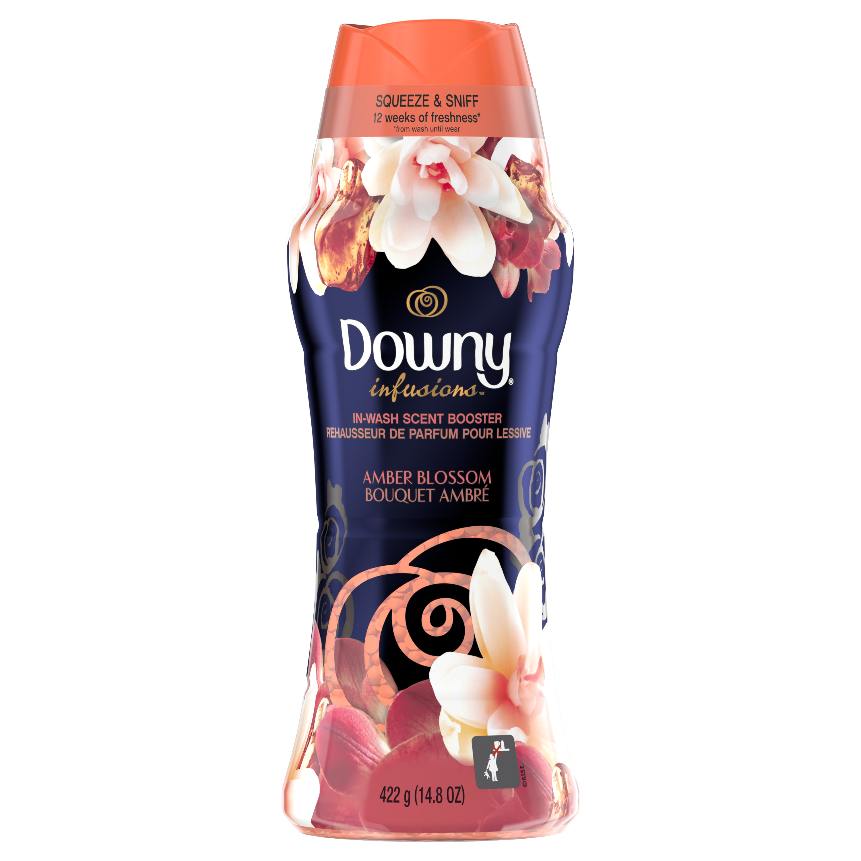 Downy Infusions In-Wash Scent Booster Beads, Amber Blossom, 14.8 oz