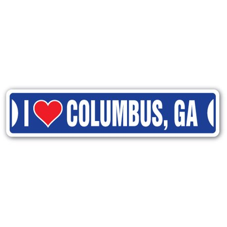 I LOVE COLUMBUS, GEORGIA Street Sign ga city state us wall road décor