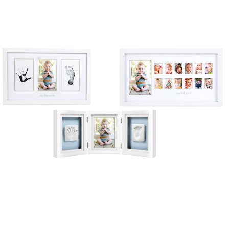 Maven Gifts Pearhead 3 Pack Babyprints Deluxe Desk Frame White