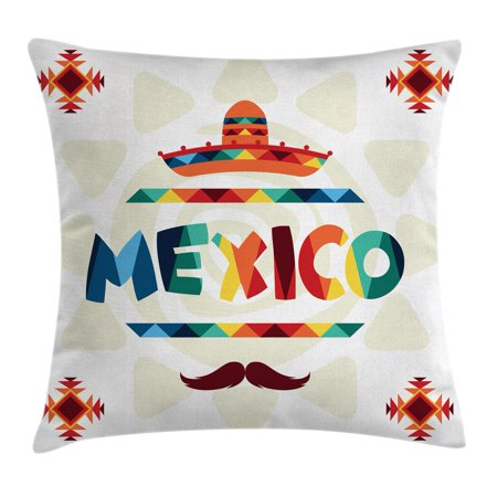 Mexican Decorations Throw Pillow Cushion Cover, Mexico Traditional Aztec Motifs and Sombrero Straw Hat Moustache Graphic, Decorative Square Accent Pillow Case, 18 X 18 Inches, Multi, by Ambesonne