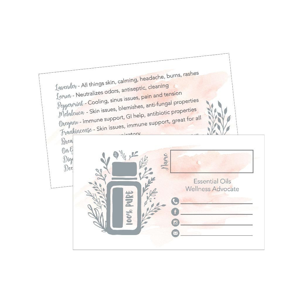 25 Watercolor Essential Oils Business Cards Doterra Young Living