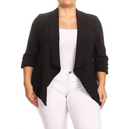 Tan Linen Blazer (MOA COLLECTION Women's Solid Casual Plus Size Loose Fit Draped Cardigan Blazer Jacket/Made in)