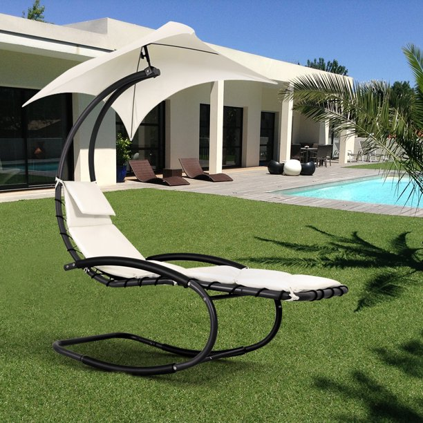 Tommy Bahama Outdoor Cushions, Ikayaa Outdoor Porch Hanging Curved Chaise Lounge Chair Swing Hammock For Patio W Canopy Pillow Stand Walmart Com Walmart Com