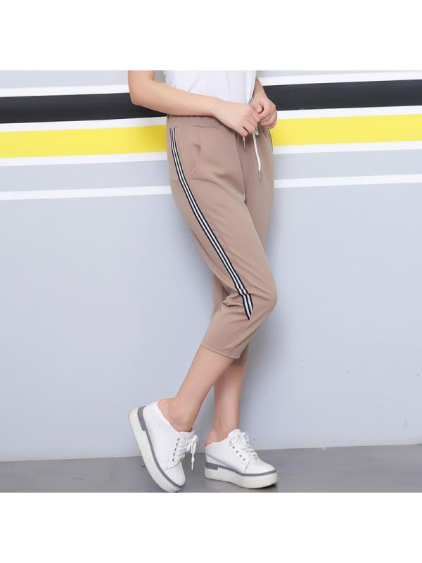 Ropalia Woman Summer Sport Gym Yoga Jogger Striped Cropped Pants Trousers