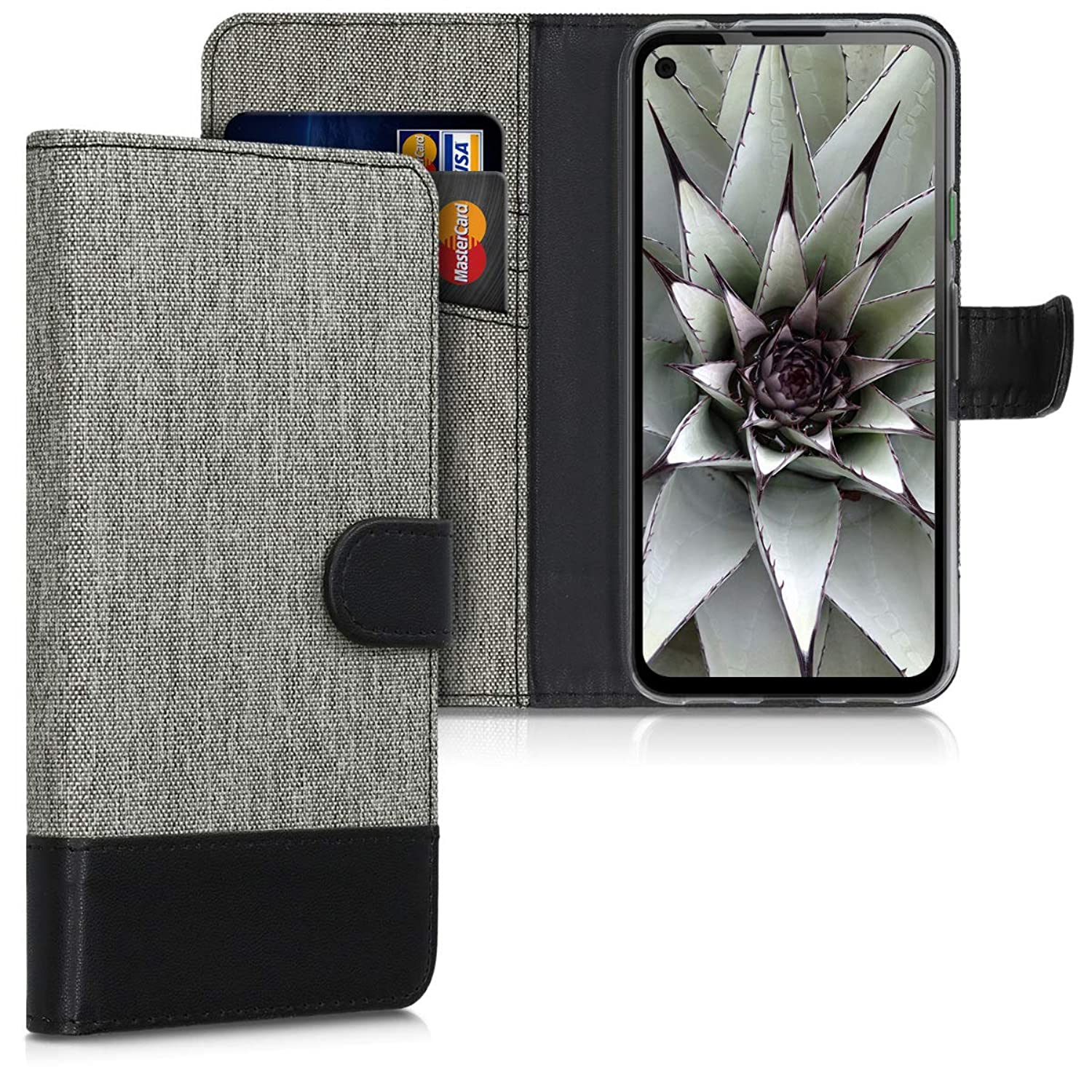 PU Leather Flip Cover with Card Slots and Stand Magnolias Taupe//White//Blue Grey kwmobile Wallet Case Compatible with Google Pixel 4a