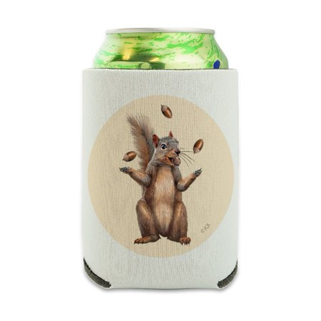 Drink Hugger (Squirrel Juggling His Nuts Crazy Funny Can Cooler - Drink Sleeve Hugger Collapsible Insulator - Beverage Insulated)