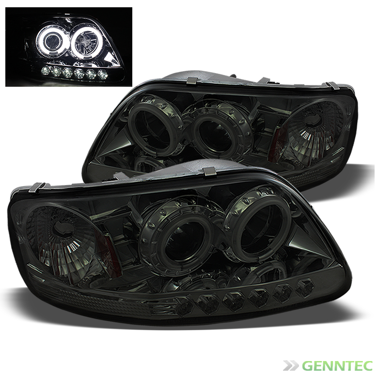 Smoked Ccfl Halo Led 1997 2003 Ford F150 Projector Headlights Smoke
