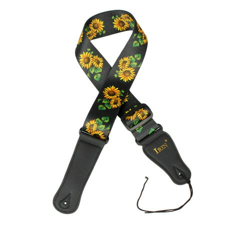 IRIN Guitar Strap Adjustable Polyester Belt PU Leather Ends for Acoustic Folk Classic Electric Guitar Bass Adjustable Bass End Pin