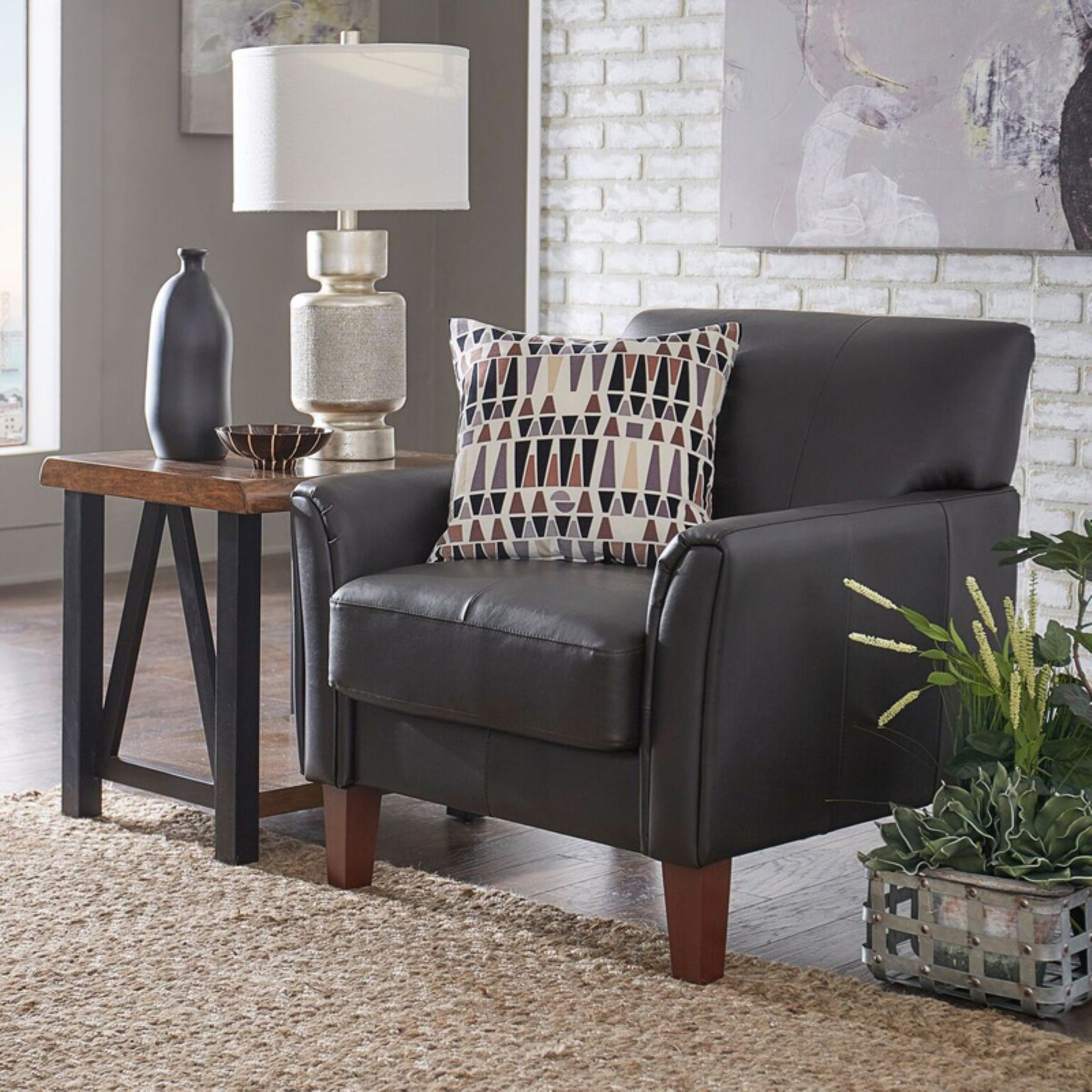 Weston Home Tribeca Living Room Accent Chair Chocolate Vinyl Chair Walmart Com
