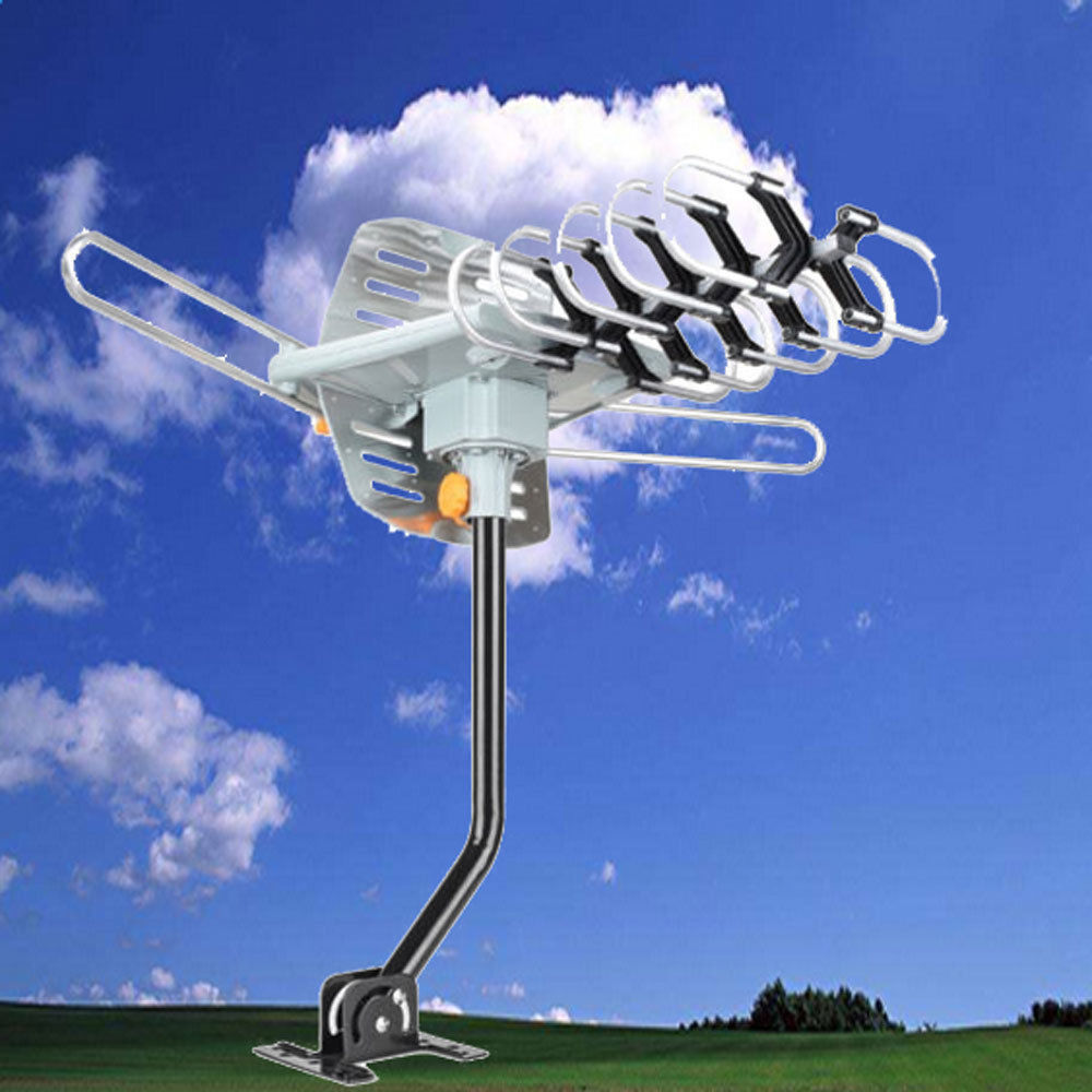 Ktaxon TA-102P 150 Miles Outdoor Amplified Antenna HD TV UHF/VHF/FM High Gain 36dB+Pole