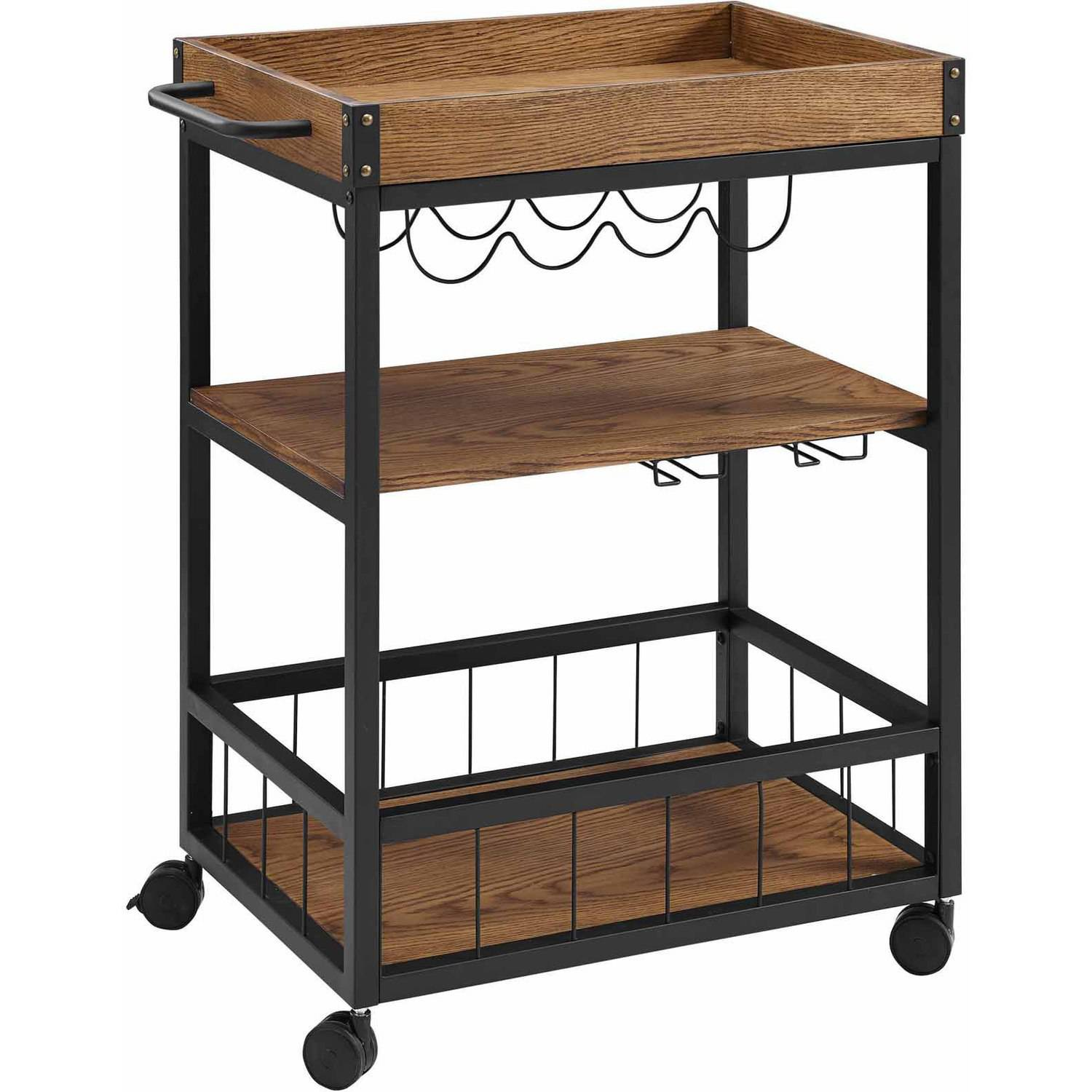 Linon Austin Kitchen Cart With Wine Bottle And Glass Storage 36 Inches Tall Walmartcom