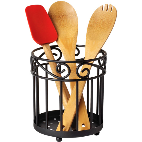 Spectrum Scroll Grande Utensil Holder, Black