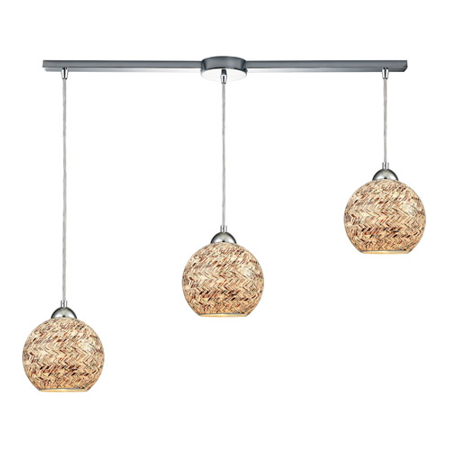 - Pendants 3 Light With Polished Chrome Finish Painted Crosshatch Mosaic Medium Base 36 inch 300 Watts - World of Lamp