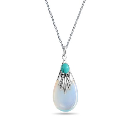 - Stabilized Turquoise Bali Style Tribal Opalite Teardrop Pear Shape Pendant Necklace For Women 925 Sterling Silver