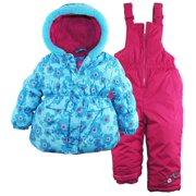 Pink Platinum Little Girls Snowboard Bubble Jacket and Snowpants Snowsuit Set