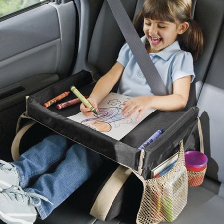 Multifunctional Vintage Safe Design Waterproof Table Kids Snack Play Travel Tray for Car Backseat - Flip Tray Seat